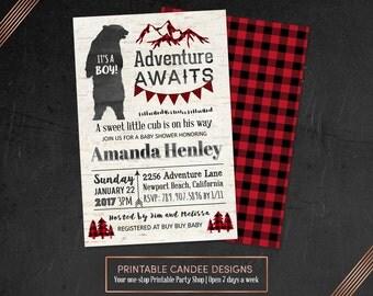 Bear Baby Shower Invitation, Adventure Awaits Baby Shower, Lumberjack Baby  Shower Invite, Buffalo