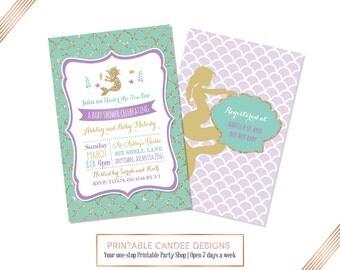 Mermaid Baby Shower Invitation, Mermaid Baby Shower, Purple Teal Baby Shower, Under the Sea Invitation, Printable Invite
