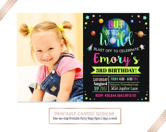 Girl Outer Space Birthday Invitation, Space Birthday, Planet Birthday, Outer Space Invitation, Solar Invitation, Printable Space Invitation