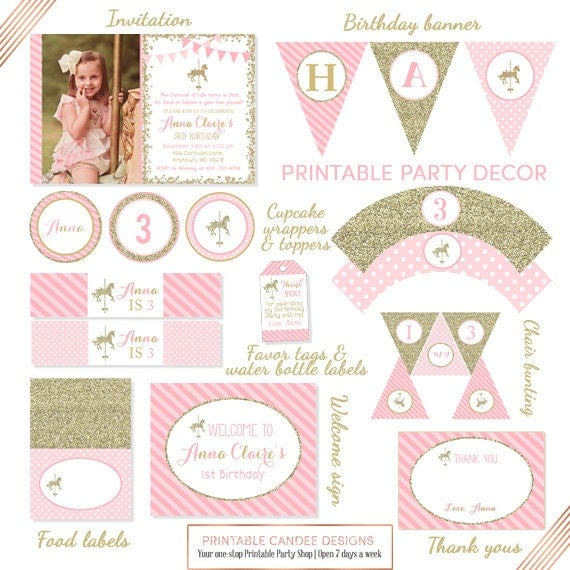 Carousel Printable Party Package, Carousel Horse Birthday Decor, Carousel Party Package, Pink Gold Glitter Decor