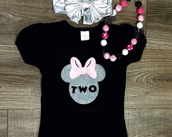 Minnie Mouse Birthday Outfit, Minnie Mouse Top, Girls 2nd Birthday Shirt, Minnie Birthday Shirt, Minnie Mouse Hairbow, Girls Accessories