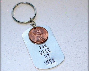 Wish Hand Stamped Key Chain, gift for him, christmas, love, gift, penny