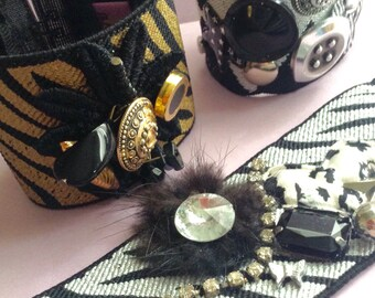 Stretch Bracelets made from Recycled Vintage Jewelry, Buttons, Beads & Fabric, gold /black, silver/black, argyle, handmade in Greece