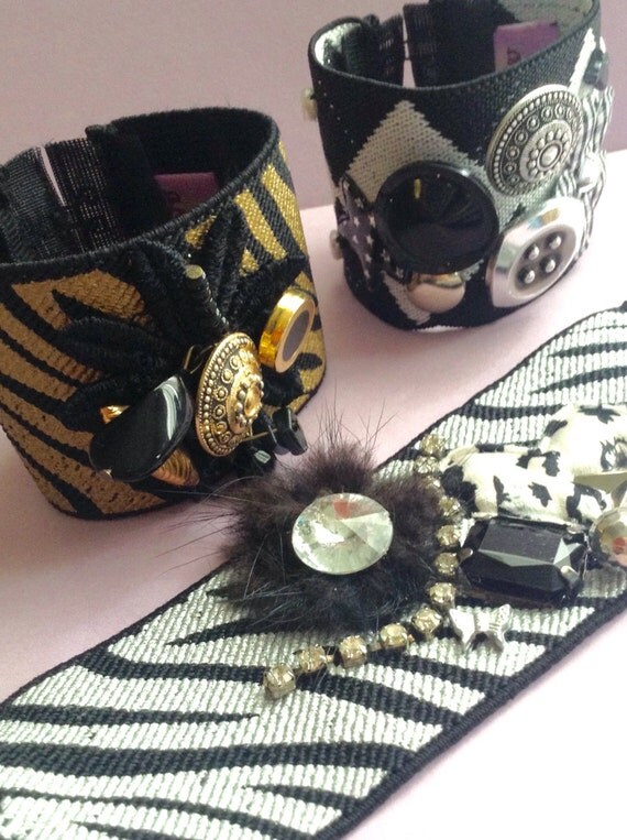 Stretch Bracelets made from Recycled Vintage Jewelry, Buttons, Beads & Fabric, gold /black, silver/black, argyle, egst, handmade in Greece