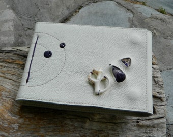 Leather Travel Diary White Recycled Leather Notebook with Australian Boulder Opal, Amethyst and Seashell