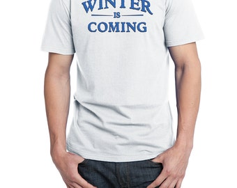 Winter is Coming Shirt, District Threads Shirt, Direct to Garment, Men's White Shirt, GoT Shirt, Game of Thrones Shirt