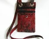 Small hip bag- Burgundy batik cotton