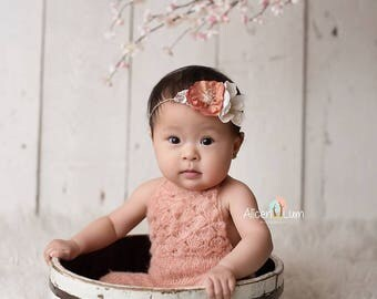 Coral, Ivory Neutral Tieback Twine Headband for Baby Girl - Newborn, Baby, Toddler, Child, Adult - Ready to Ship