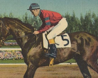 Citation at Hialeah - Vintage 1940s Tinted Linen Triple Crown Winning Racehorse Postcard