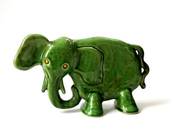 Large Vintage MCM ELEPHANT FIGURINE Green Art Pottery Whimsical 10x6x3 Glossy Mottled Mint Mid Century Mod Playful Abstract Disneyesque Fun