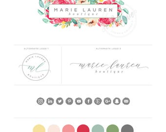 Watercolor Floral Logo design branding package - Calligraphy Logo - Australian Floral Logo - Custom photography or boutique Logo