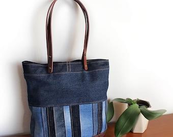 Upcycled Denim Patchwork Tote Bag Purse Unique Handmade Ecofriendly