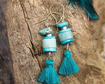 Bohemian style pair of earrings with amazonite, turquoise and howlite with cotton tassel. ONE SINGLE COPY !