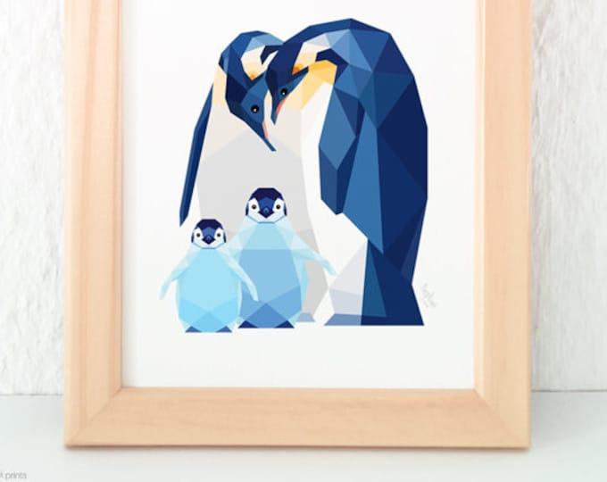 Penguin family, Penguin baby, Nursery art, Animal family art, Baby nursery decor, Geometric print, Baby animal art, Nursery, Cute baby room