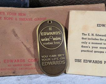 vintage Advertising Edwards Sheave & Rope Gauge in Original Envelope, Never Used