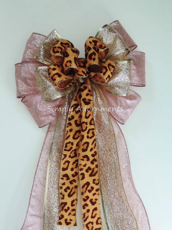 Pink Gold Leopard Birthday Decor Blush Gold Leopard Baby Shower Ribbon Bow Gold Pink 1st Birthday Party Decor Gold Pink Leopard Party Decor
