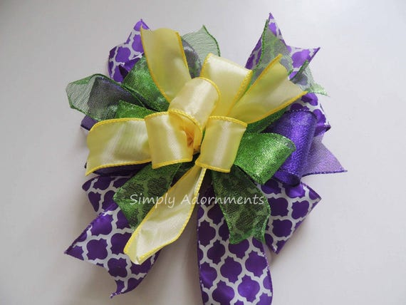 Whimsical Spring Wreath Bow Purple Yellow Easter Swag Bow Funky Purple Lime Yellow Lantern bow Easter Gift Basket Bow Spring Door hanger Bow
