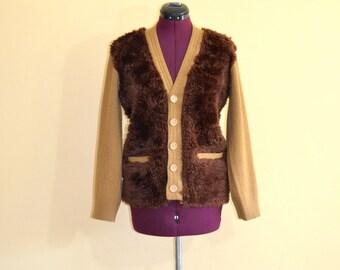 1960s Vintage Doles Faux Fur Cardigan Sweater size 38 (M L) bust 38