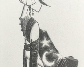 fashion illustration / art / drawing / flapper / 20s / art deco / moon / stars / hippie decor