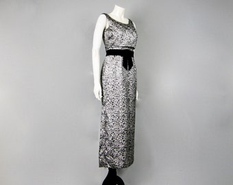 Vintage 1960s Silver Damask Silk Empire Line Prom Party Dress // 60s Mod Jacket Illusion Black Velvet Trimmed Silver Lame Maxi Gown