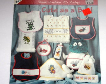 """Jeanette Crews Designs """"Cute as a Bug"""" Leaflet baby Bibs cross stitch patterns"""