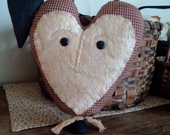 Primitive Heart And Crow Fabric Made Do Valentine Decor