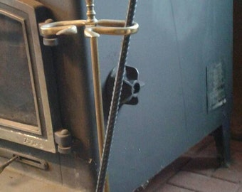 Hand Forged Fire Poker for Campfires or Wood Stove- Made of Salvaged Rebar