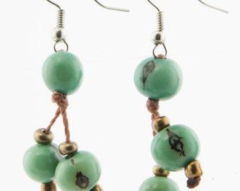 Acai Seed Earrings / Bright Blue Earrings / Acai Seed Jewelry / Acai Earrings / Fair Trade / Seed Jewelry / Seed Earrings