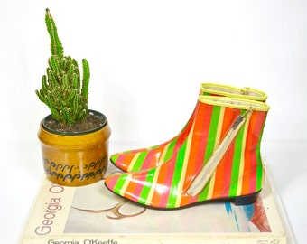 1966 Hi Brows Glo Glo Boots  for Go Go Girls/ extremely rare 60s rainbow striped vinyl boots