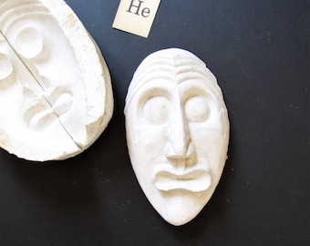 Modern minimalist sculpture, plaster head cast of a man, minimalist decor