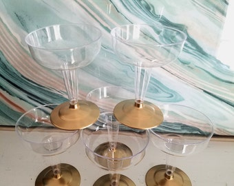 12 Gold Dipped Champagne Glasses, Wine, Plastic, Disposable, New Years Eve, Bridal Shower, Baby Shower, 1st Birthday, NYE, Gold Party Decor