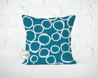 Turquoise Circles Pillow Cover - Freehand Aquarius - Lumbar 12 14 16 18 20 22 24 26 Euro - Hidden Zipper Closure