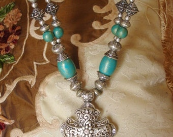 Cross Necklace Cowgirl Chunky Turquoise  Huge Magnetic Pendant Bold Boho Hippie Chic Festival