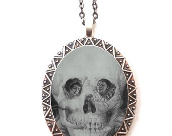 Skull Couple Illusion Necklace Pendant Silver Tone - Optical Illusion Metamorphic Goth Necromance