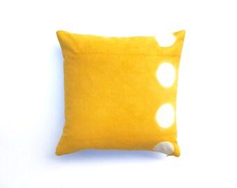 Sale: Bright Yellow Pillow Hand Dyed Itajime Shibori Pillow Cover Marigold Mustard Yellow Decorative Pillow Cover 20 x 20 Mustard