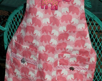 Pink and White Elephants on Parade Preschool BBQ style apron by Cover Me Aprons