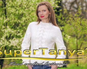 Hand knitted designer wool sweater in white, handcrafted fashion top blouse by SuperTanya