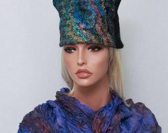 A Felted hat  Eco  hat Nunofelt Hat Art hat Wild hat  Wearable art Nuno felt Winter wool hat  OOAK nunofelt nuno felt silk fiber art