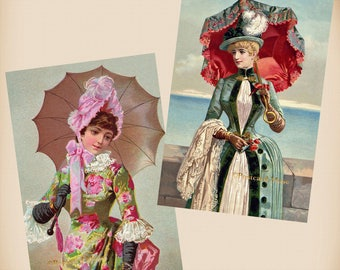Victorian Lady With An Umbrella - 2 New 4x6 Antique Image Photo Prints - TC18-15