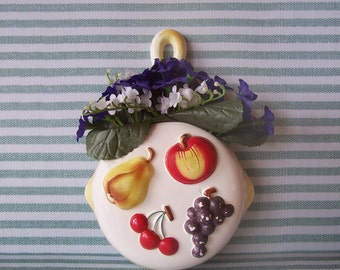 Delightful Lefton Pan Wall Pocket with fruit Apple, Grapes, Cherries, and Pear