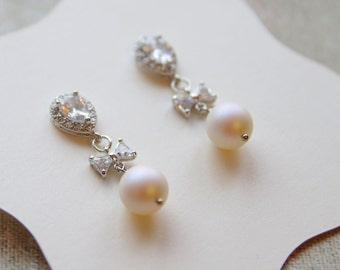 Pearl Earrings - Silver Crystal Bridal Earrings - Crystal Dangles