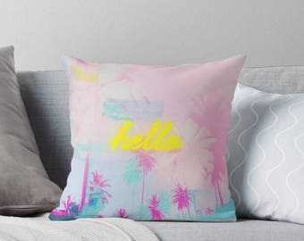 Palm tree neon print pillow, pink pillow, customised decor, home decor, gift for her, Palm tree decor, neon decor, neon typography
