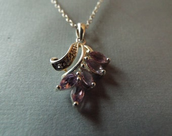 """sterling silver 5 amethyst gemstones pendant necklace 18"""" chain marquoise cut"""
