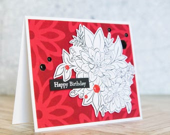 Bold Black, White, and Red Birthday Card with stamped illustrated dahlias