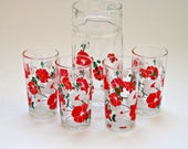 Beautiful Vintage Glass Floral Jug Pitcher and 4 Glasses Set