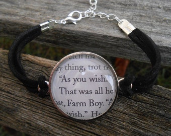 As You Wish Bracelet. Princess Bride. Anniversary, Unique Birthday Gift, Bridesmaid Gift. Buttercup, Westley