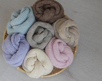 Brushed alpaca wraps Knit stretch wrap Newborn photography wrap Knit baby wrap Newborn alpaca wrap Newborn photo prop Choose your colour