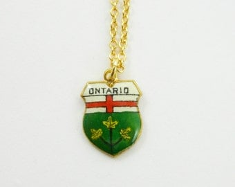 Vintage Ontario Charm Necklace - Tiny Ontario Charm - Canada 150