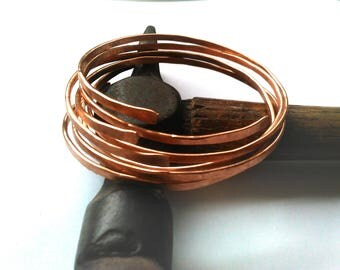 Copper Stacking Bangles Raw Natural Hammered Copper Bracelet Set Healing Boho Jewellery FREE UK SHIPPING
