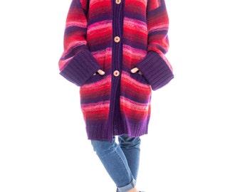 1980s Kansai Yamamoto Oversized Striped Wool Sweater Size: XL